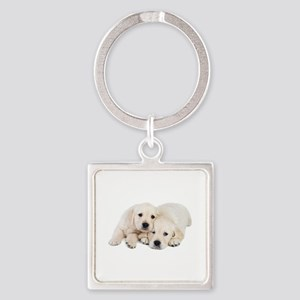 White Labradors Square Keychain