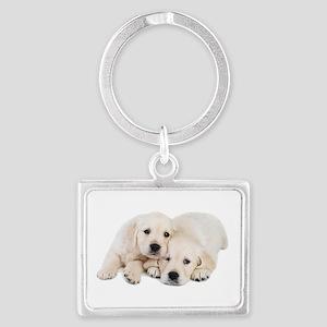 White Labradors Landscape Keychain