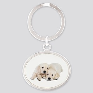 White Labradors Oval Keychain