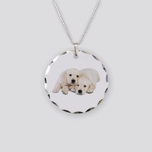 White Labradors Necklace Circle Charm