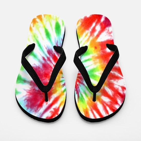 Rainbow Spiral Tie Dye Flip Flops
