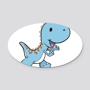 Running Baby Dino Oval Car Magnet