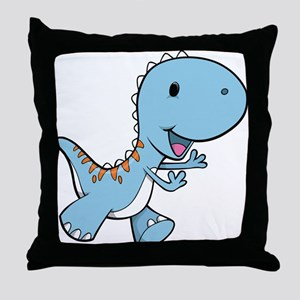 Running Baby Dino Throw Pillow