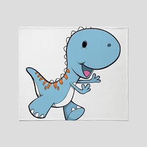 Running Baby Dino Throw Blanket