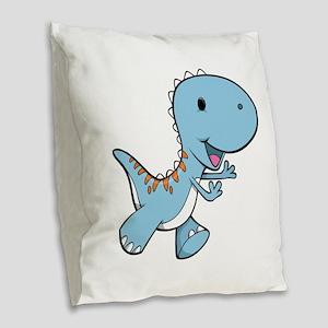 Running Baby Dino Burlap Throw Pillow