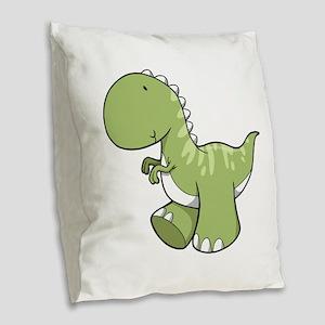 Green Baby Dinosaur Burlap Throw Pillow