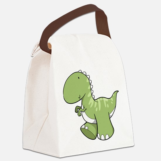 Green Baby Dinosaur Canvas Lunch Bag
