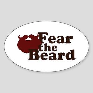 Fear the Beard - Red Sticker (Oval)