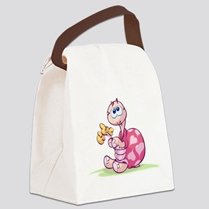 Pink Cartoon Turtle Canvas Lunch Bag