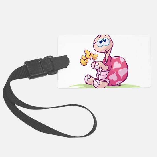 Pink Cartoon Turtle Luggage Tag