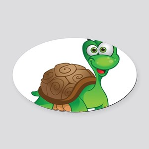 Funny Cartoon Turtle Oval Car Magnet