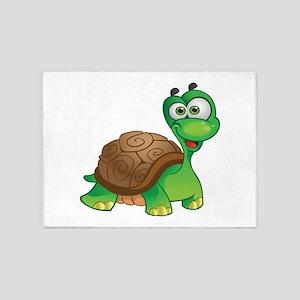 Funny Cartoon Turtle 5'x7'Area Rug