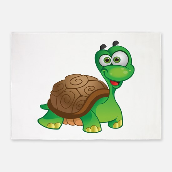 Funny Cartoon Turtle 5'x7'Area Rug