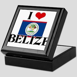 I HEART BELIZE FLAG Keepsake Box