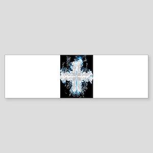 Blue Flaming Cross Bumper Sticker