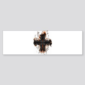 Black Flaming Cross Bumper Sticker