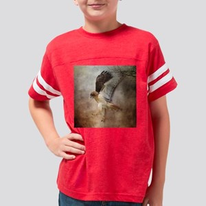 Red Tail Hawk in Flight Youth Football Shirt
