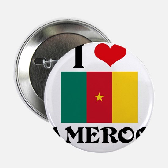 "I HEART CAMEROON FLAG 2.25"" Button"