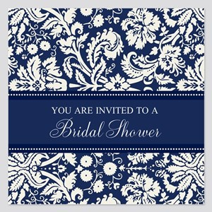 Blue Damask Bridal Shower 5.25 x 5.25 Flat Cards
