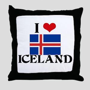 I HEART ICELAND FLAG Throw Pillow