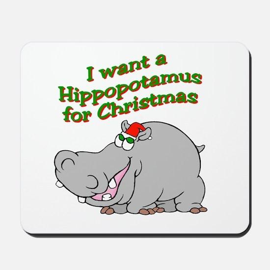 Christmas Hippo Mousepad