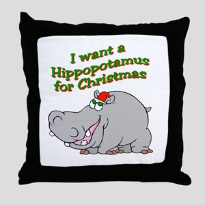 Christmas Hippo Throw Pillow