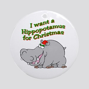 Christmas Hippo Ornament (Round)