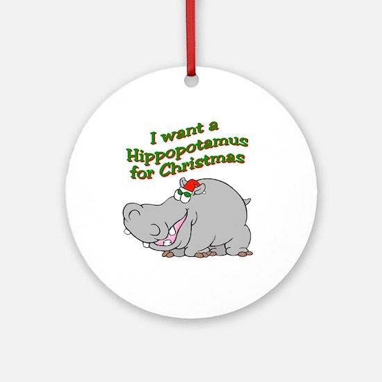 Christmas Hippo Ornament (Round)