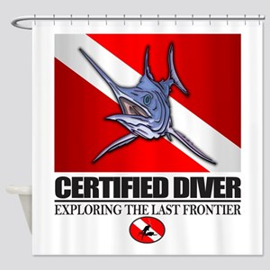 Certified Diver (Marlin) Shower Curtain