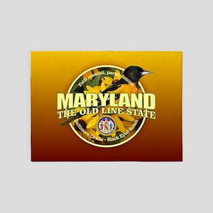 Maryland State Bird & Flower 5'x7'Area Rug