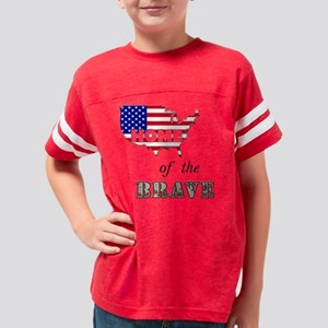 homeofbraveblacktext Youth Football Shirt
