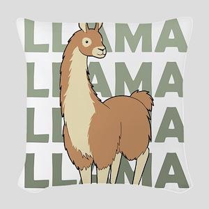 Llama, Llama, Llama! Woven Throw Pillow