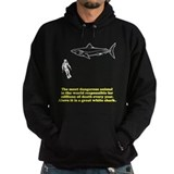 Human and shark Dark Hoodies