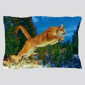 Leaping Cougar Pillow Case
