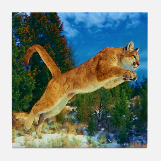 Leaping Cougar Tile Coaster