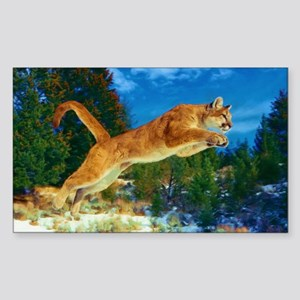 Leaping Cougar Sticker (Rectangle)