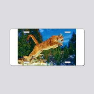 Leaping Cougar Aluminum License Plate