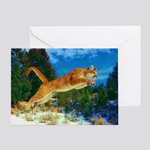 Leaping Cougar Greeting Card
