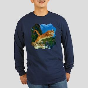 Leaping Cougar Long Sleeve Dark T-Shirt