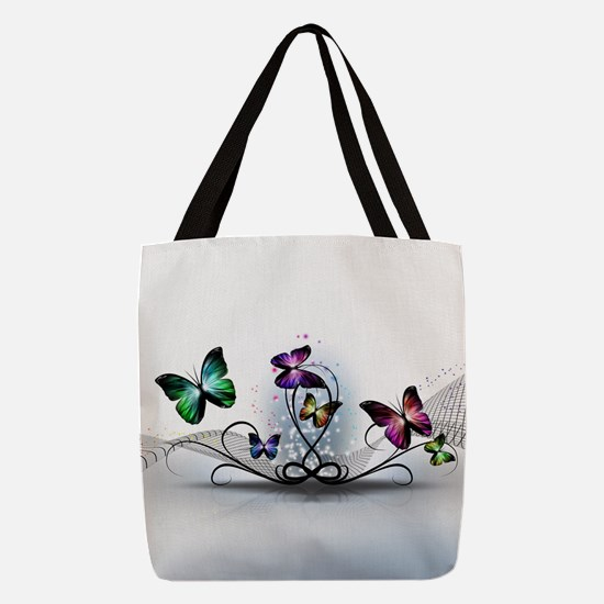 Colorful Butterflies Polyester Tote Bag
