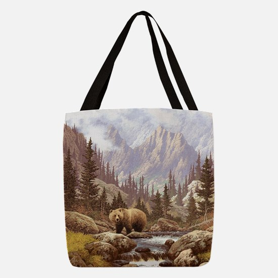 Grizzly Bear Landscape Polyester Tote Bag