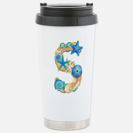 Beach Theme Initial S Travel Mug