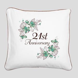 21st Anniversary Keepsake Square Canvas Pillow