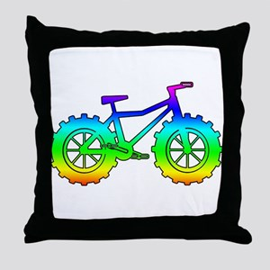 Rainbow fatbike Throw Pillow