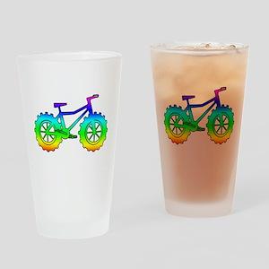 Rainbow fatbike Drinking Glass