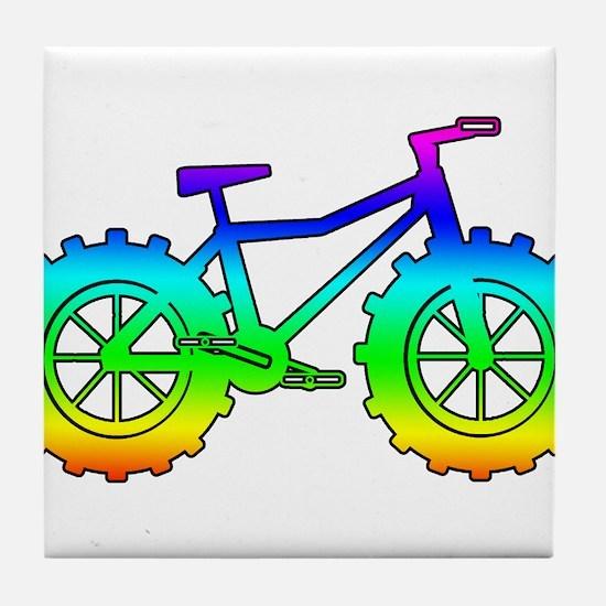 Rainbow fatbike Tile Coaster