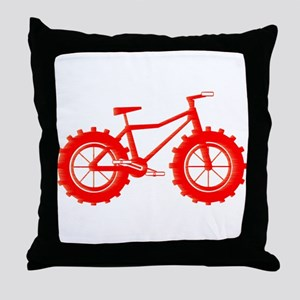 windblown red fat bike logo Throw Pillow