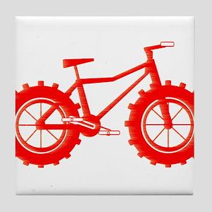 windblown red fat bike logo Tile Coaster