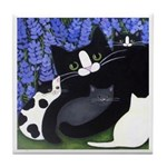 Mama CAT and Kittens ART Tile
