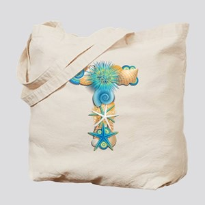 Beach Theme Monogram T Tote Bag